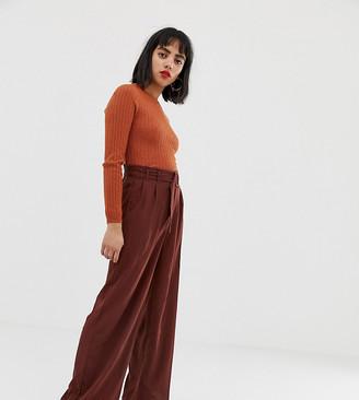 Vero Moda Petite Belted High Waist Wideleg Pants