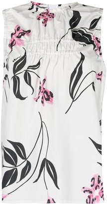 Marni Ruched Floral-Print Tank Top