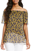MICHAEL Michael Kors Arbor Floral Metallic Print Pleated Georgette Off-The-Shoulder Top