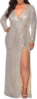 La Femme Sequin Long Sleeve Gown