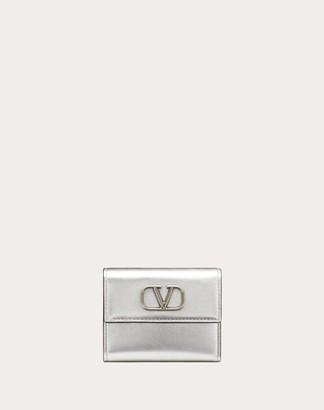 Valentino Small Vsling Metallic Calfskin Wallet Women Silver Calfskin 100% OneSize