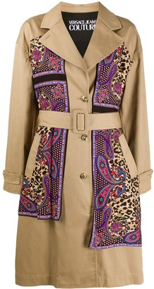 Versace Jeans Couture Paisley Leopard Accent Trench Coat