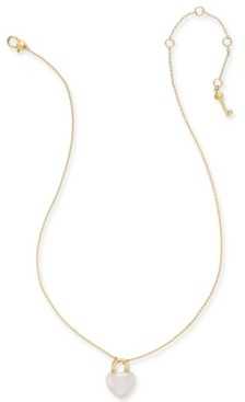 "Kate Spade Gold-Tone Mini Heart Lock Pendant Necklace, 17"" + 3"" Extender"