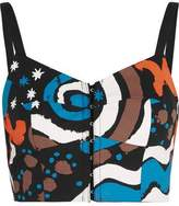 Isa Arfen Printed Cotton-Blend Bustier Top