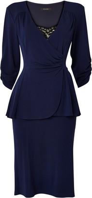 Evans **Scarlett & Jo Navy Tuxedo Peplum Dress