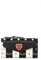 Betsey Johnson Double Top Zip Snap Faux Leather Wallet