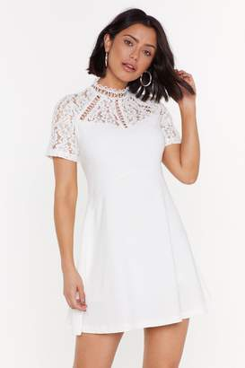 Nasty Gal Womens Friends in High Laces Fit & Flare Dress - white - L