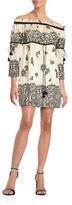 Rachel Zoe Off-the-Shoulder Lace-Print Silk Dress