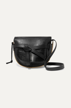Loewe Gate Medium Smooth And Lizard-effect Leather Shoulder Bag - Black
