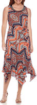 Robbie Bee Sleeveless Embellished Neck Belted Handkerchief-Hem Dress - Petite