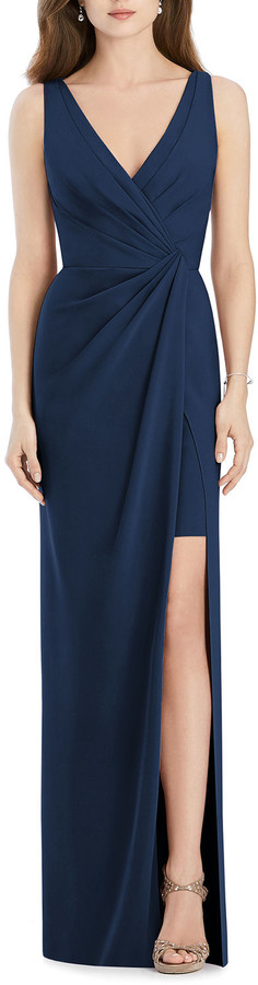 Jenny Packham Bridesmaids V-Neck Sleeveless Drape-Front Gown Bridesmaid Dress with Slit