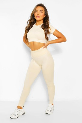 boohoo Petite Fit Seamfree Contrast Gym Leggings