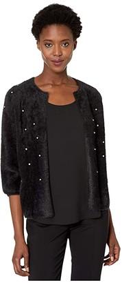 Nic+Zoe Rhinestone Cardigan (Black Onyx) Women's Sweater
