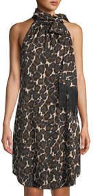 Iman Animal-Print Tie-Neck Georgette Dress