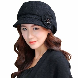 Lerben Fashion Women Ladies Vintage Elegant Knitted Winter Warm Cloche Flower Brim Cap Bowler Hat Slouchy Cap Black