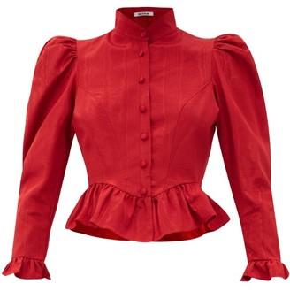 Batsheva Gracie Moire Blouse - Red