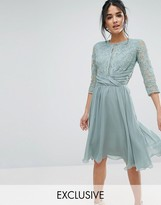 Elise Ryan Ruched Waist Lace Midi Dress