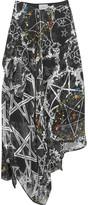 Preen by Thornton Bregazzi Sage Asymmetric Printed Devoré Silk-blend Chiffon Skirt - Black