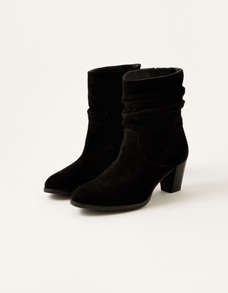 Monsoon Slouch Suede Ankle Boots Black