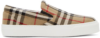 Burberry Beige Check Bio-Based Sole Latticed Slip-On Sneakers