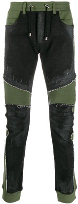 Balmain Contrast Skinny Biker Jeans