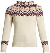Loewe Frayed-neck intarsia sweater