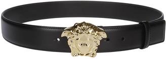 Versace Black Leather Palazzo Belt
