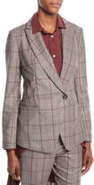 Brunello Cucinelli One-Button Plaid Blazer w/ Paillette Under-Collar