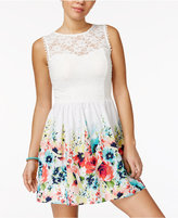 Speechless Juniors' Illusion Lace Fit & Flare Dress