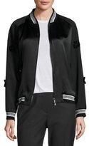 3.1 Phillip Lim Floral Tuxedo Bomber Jacket, Black