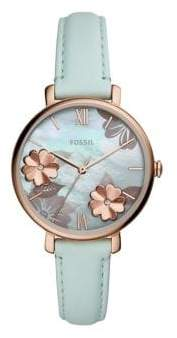 Fossil Jacqueline Rose Goldtone Stainless Steel, Crystal & Leather-Strap Watch