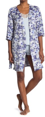 Flora By Flora Nikrooz Chase Floral Robe, Solid Camisole, & Shorts Jersey 3-Piece Pajama Set