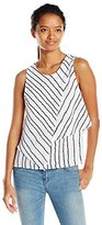 XOXO Women's Sleeveless Stripe Asymmetrical Layer Top