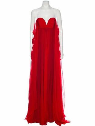 Valentino Strapless Long Dress Red