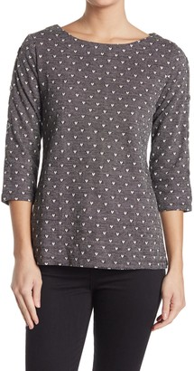 Love by Design Maserati Heart Print 3/4 Sleeve Top