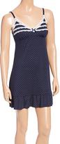Navy Polka Dot Lace-Trim Ruffle-Hem Nightgown