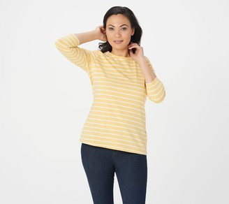 Denim & Co. Striped Jersey 3/4 Sleeve Top with Lace Detail