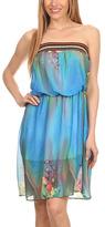 Blue Floral-Accent Strapless Dress