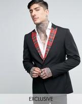 Religion Skinny Blazer With Tartan Lapel