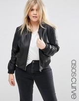 Asos Bomber Jacket In Leather Look