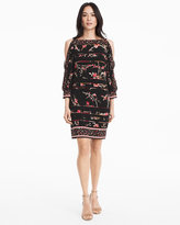 White House Black Market Split Sleeve Floral Print Knit Shift Dress