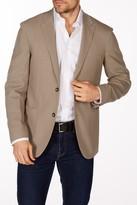 Levinas Beige Sharkskin Two Button Notch Lapel Wool Slim Fit Blazer
