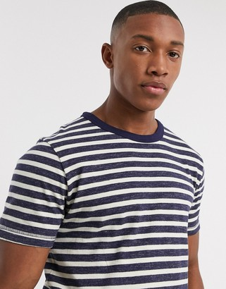 Selected organic cotton heavy washed breton stripe t-shirt in navy