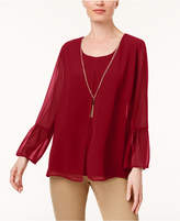 JM Collection Bell-Sleeve Necklace Tunic, Created for Macy's