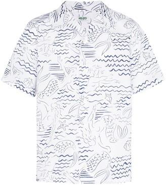 Kenzo Waves Mermaids print shirt