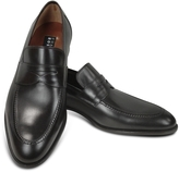 Fratelli Rossetti Black Calf Leather Penny Loafer Shoes