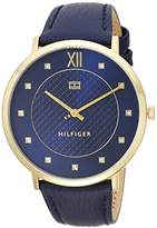 Tommy Hilfiger Women's 'SOPHISTICATED SPORT' Quartz Gold-Tone and Leather Casual Watch, Color:Blue (Model: 1781807)