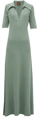 Albus Lumen - Exaggerated-collar Cotton-blend Terry Maxi Dress - Womens - Green