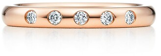 Tiffany & Co. Elsa Peretti stacking band ring in 18k rose gold with diamonds