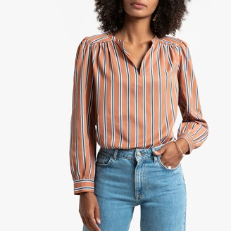 La Redoute Collections Striped Long-Sleeved Blouse with V-Neck